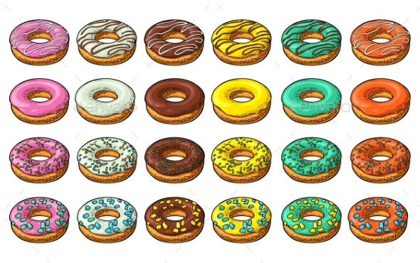 Set of Donuts with Different Icing - Food Objects
