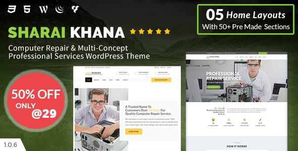 Image of Sharai Khana - Computer Repair & Multi-Concept Professional Services WordPress Theme