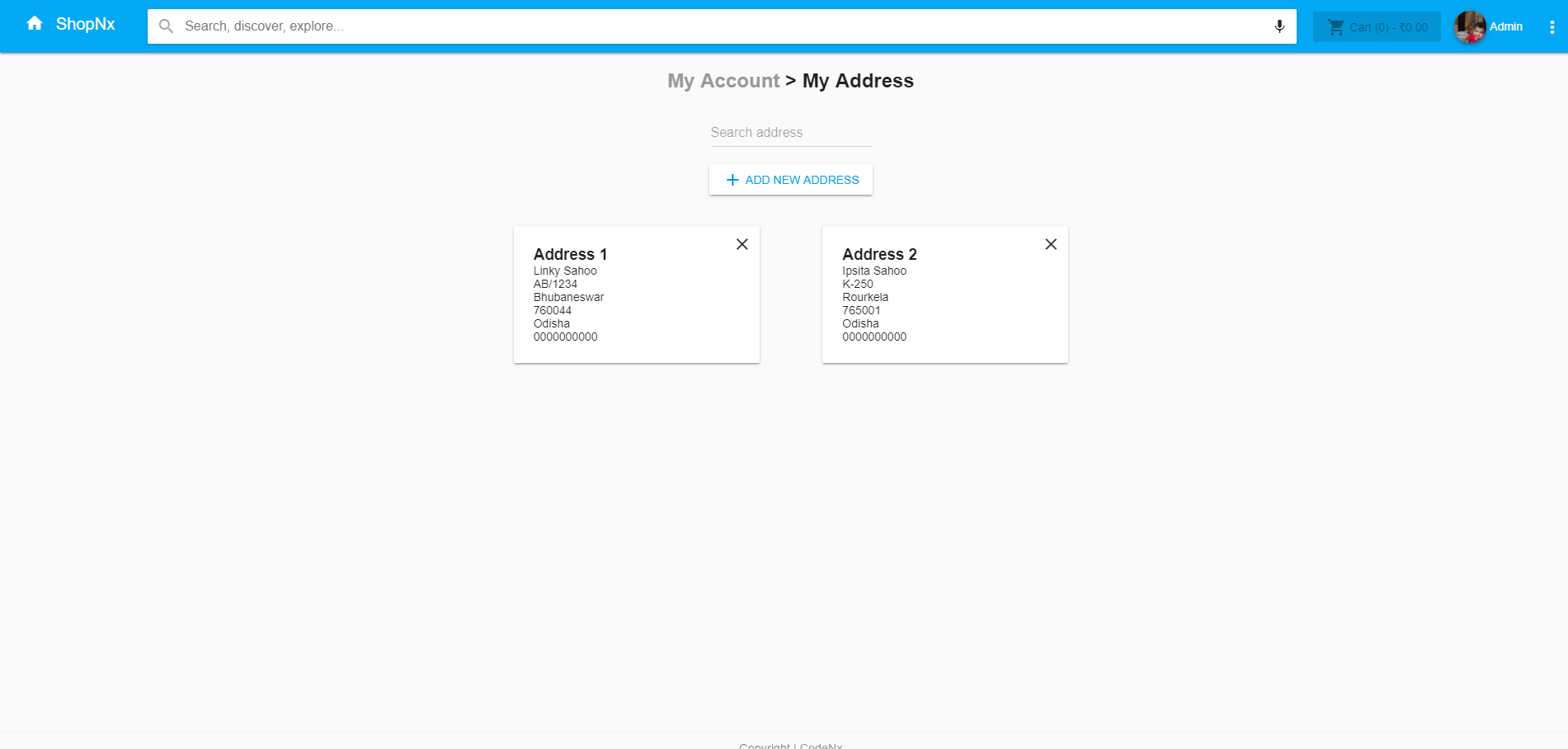 ShopNx - Angular5 Single Page Shopping Cart Application