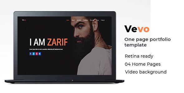 Image of Vevo - One Page Portfolio Cv Resume Template