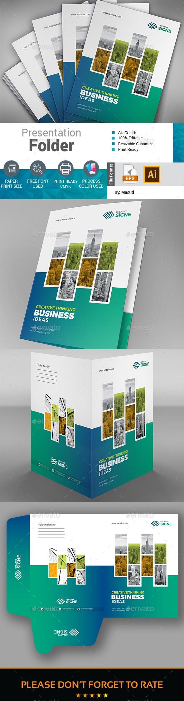 Business Presentation Folder - Stationery Print Templates