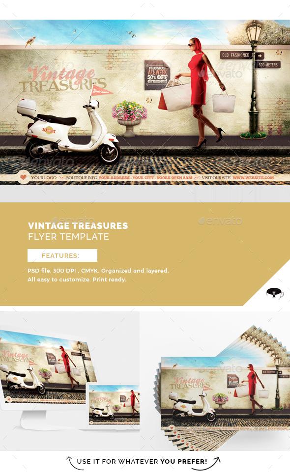 Vintage Treasures Flyer Template - Flyers Print Templates