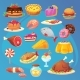 Set of Colorful Cartoon Food Game Web Inventory