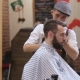 Master Cuts Hair and Beard of Men in the Barbershop, Hairdresser Makes Hairstyle for a Young Man - VideoHive Item for Sale