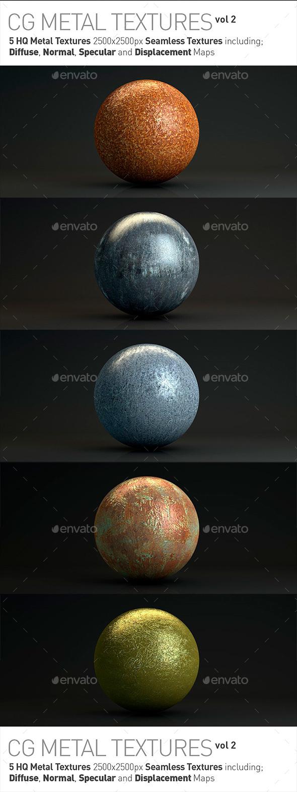5 Metal Textures for CG Artists Vol 2 - Metal Textures