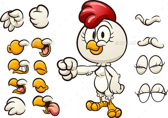 Cartoon Hen - Animals Characters