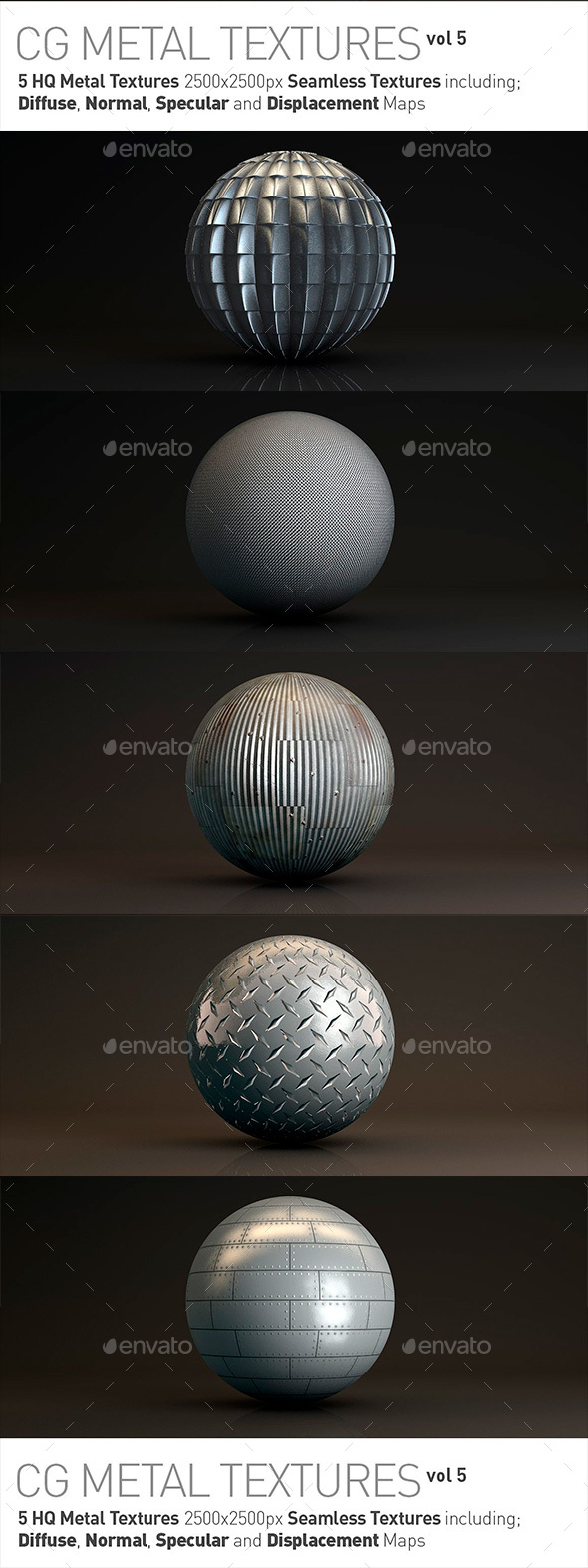 5 Metal Textures for CG Artists Vol 5 - Metal Textures