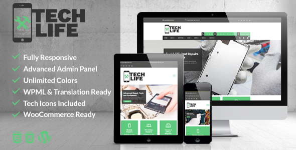 TechLife - Mobile, Tech & Electronics Repair Shop WordPress Theme - Business Corporate