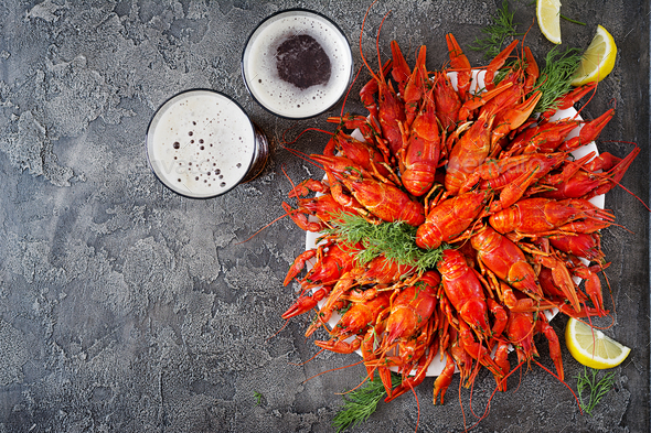 Crayfish. Red boiled crawfishes on table in rustic style, closeup.  - Stock Photo - Images