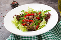 Healthy salad bowl with  beef meat, sweet peppers, onions and mixed greens - PhotoDune Item for Sale