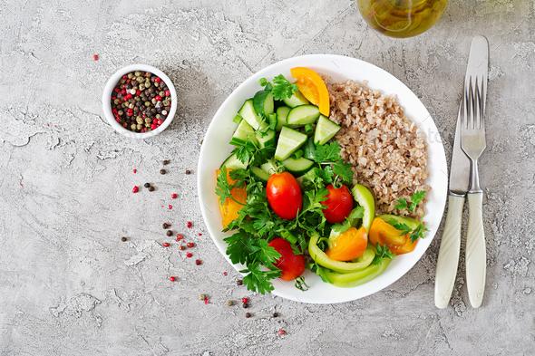 Diet menu. Healthy vegetarian salad of fresh vegetables - Stock Photo - Images