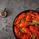 Crayfish. Red boiled crawfishes on table in rustic style, closeup.  - PhotoDune Item for Sale