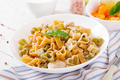 Creamy pasta with chicken and eggplant  served in deep plate. Italian food. - PhotoDune Item for Sale