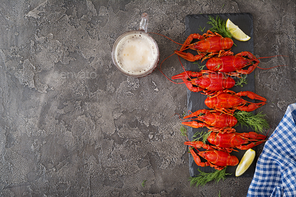 Crayfish. Red boiled crawfishes on table in rustic style, closeup - Stock Photo - Images
