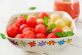 Colorful fruit salad. Watermelon and melon salad. Fresh summer food. - PhotoDune Item for Sale