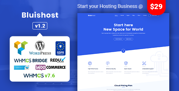 Image of Bluishost - Responsive Web Hosting with WHMCS Themes