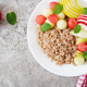 Buckwheat or porridge with fresh melon, watermelon, apple and pear - PhotoDune Item for Sale
