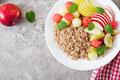 Buckwheat or porridge with fresh melon, watermelon, apple and pear - PhotoDune Item for Sale