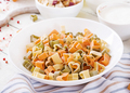 Ingredients for cooking creamy pasta with chicken and eggplant  served in deep plate. Italian food. - PhotoDune Item for Sale