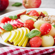 Healthy breakfast. Buckwheat or porridge with fresh melon, watermelon, apple and pear. Tasty food. - PhotoDune Item for Sale