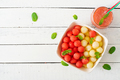 Colorful fruit salad. Watermelon and melon salad. Fresh summer food. Top view - PhotoDune Item for Sale