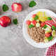Buckwheat or porridge with fresh melon, watermelon, apple and pear.  - PhotoDune Item for Sale
