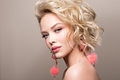 Glamour portrait of beautiful girl model with makeup and romantic wavy hairstyle. - PhotoDune Item for Sale