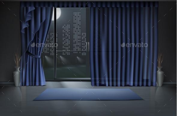 Vector Of Empty Room Interior In Night
