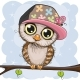 Owl in a Cap Is Sitting on a Branch - GraphicRiver Item for Sale