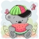 Cartoon Bear with Watermelon - GraphicRiver Item for Sale