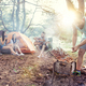 Party, camping of men and women group at forest. They relaxing, singing a song and cooking barbecue - PhotoDune Item for Sale