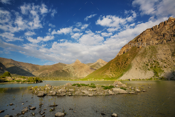 Fann mountains lake - Stock Photo - Images