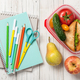 School supplies, lunch box with sandwich, vegetables and fruits - PhotoDune Item for Sale