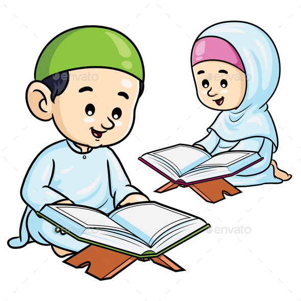 Moslem Kids Reading Quran - People Characters