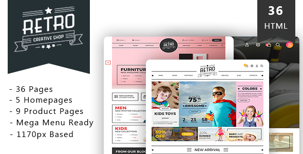 Retro Shop - Creative eCommerce HTML Template - Shopping Retail
