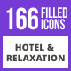 170 Hotel & Relaxation Filled Blue & Black Icons