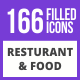 200 Restaurant & Food Filled Blue & Black Icons