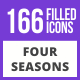 200 Four Seasons Filled Blue & Black Icons - GraphicRiver Item for Sale