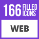 200 Web Filled Blue & Black Icons - GraphicRiver Item for Sale