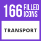 210 Transport Filled Blue & Balck Icons - GraphicRiver Item for Sale