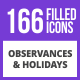 230 Observances & Holiday Filled Blue & Black Icons - GraphicRiver Item for Sale