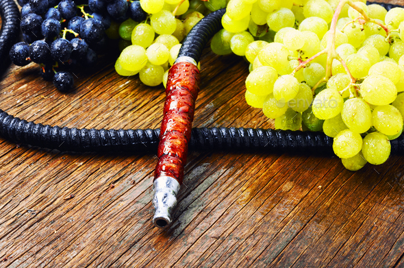 Oriental shisha with grapes - Stock Photo - Images