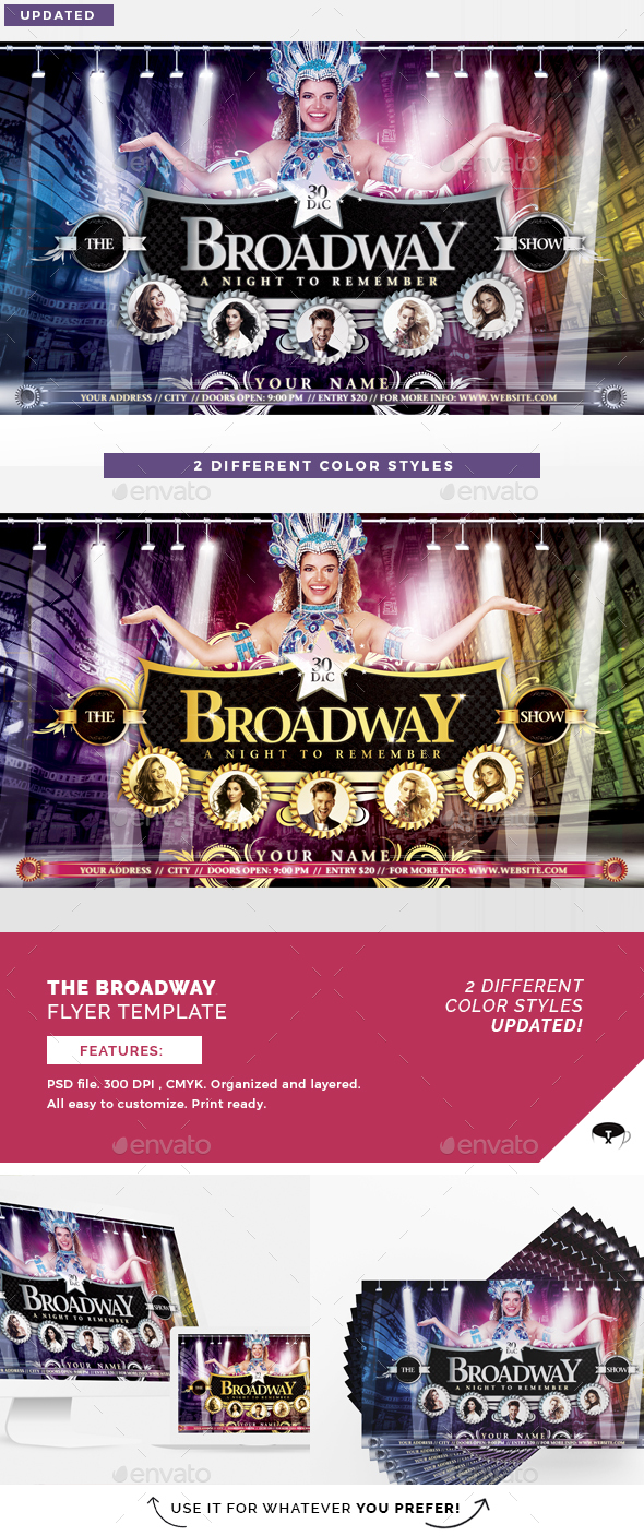 The Broadway Show Flyer Template - Clubs & Parties Events