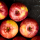 Fresh organic red apples on black background. - PhotoDune Item for Sale