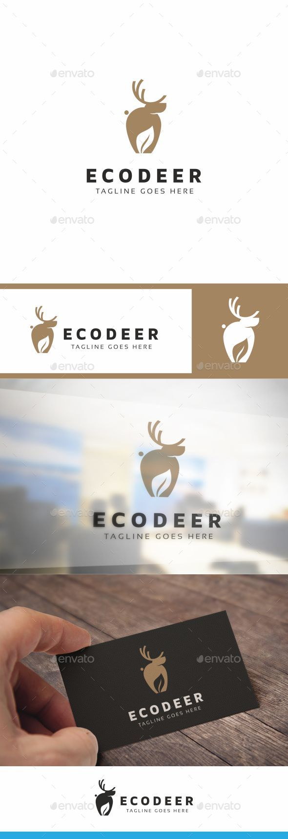 Eco Deer Logo - Animals Logo Templates