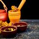Healing herbs on wooden black table, herbal medicine - PhotoDune Item for Sale