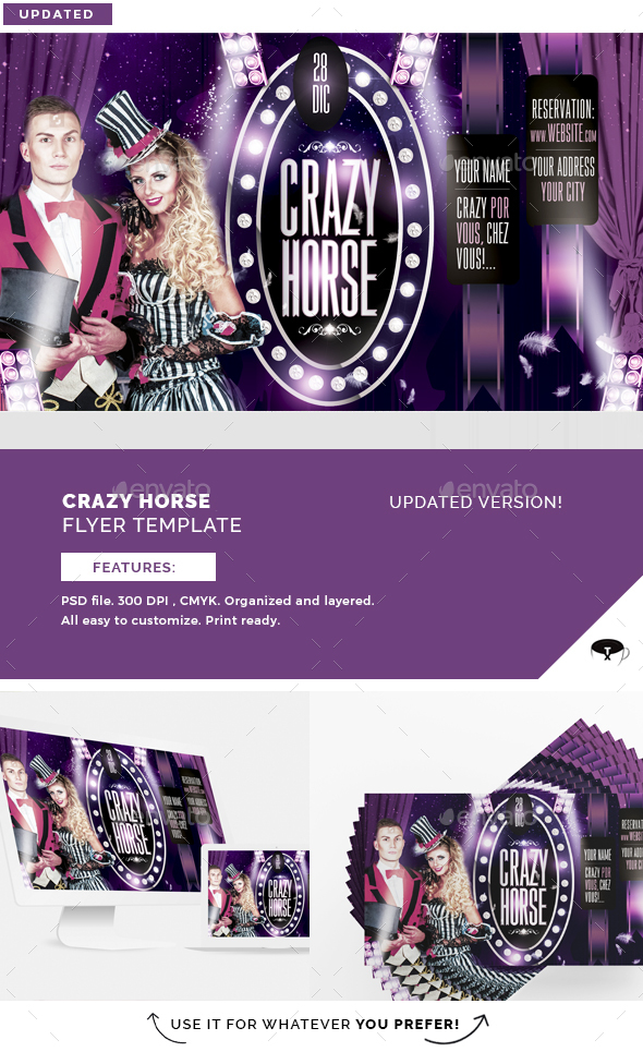 Crazy Horse Flyer Template - Clubs & Parties Events