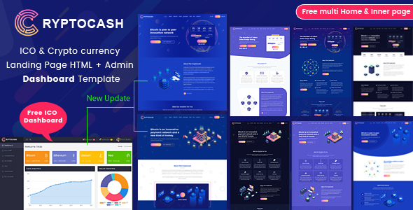 Cryptocash - ICO & Cryptocurrency Landing Page HTML + Admin Dashboard Template - Technology Site Templates