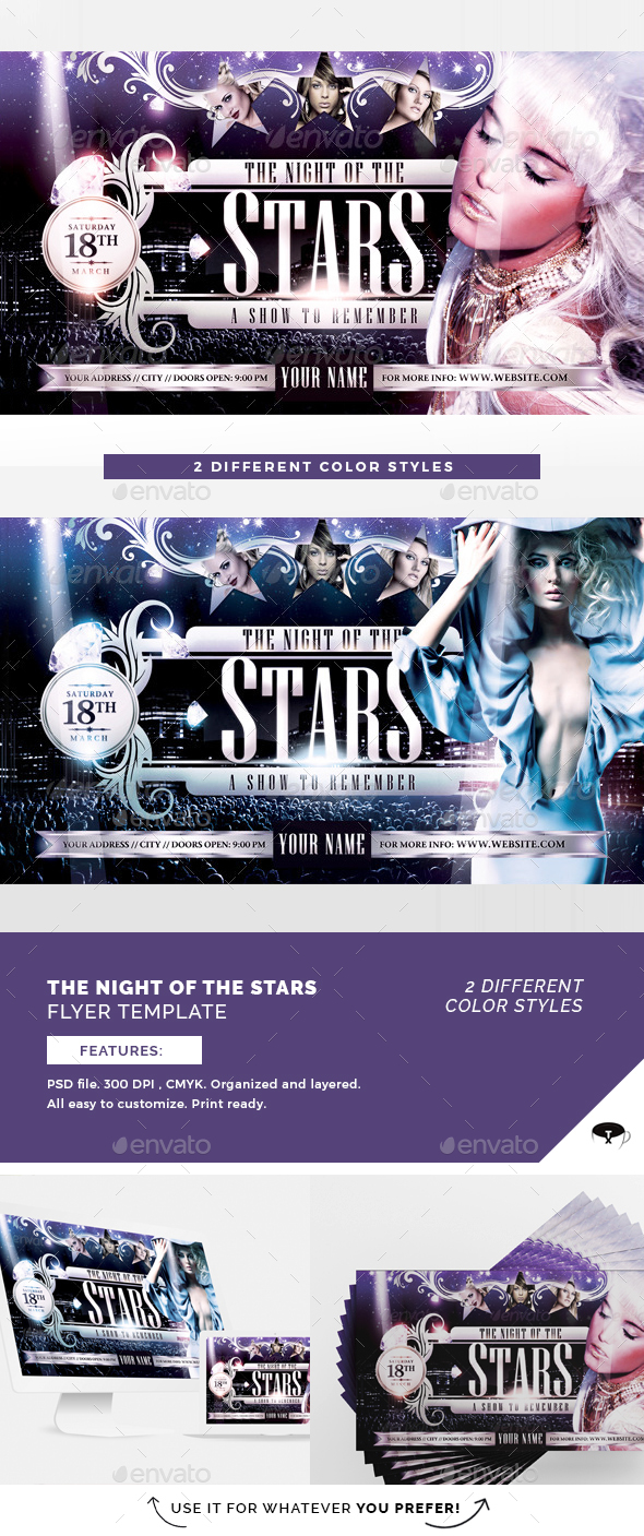 The Night Of The Star Flyer Template - Clubs & Parties Events