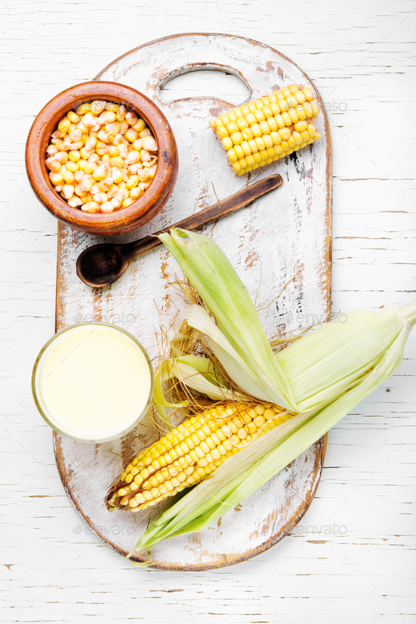 Cup of corn milk - Stock Photo - Images